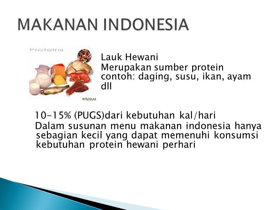 MAKANAN INDONESIA Lauk Hewani. Merupakan sumber protein contoh: daging, susu, ikan, ayam. dll.