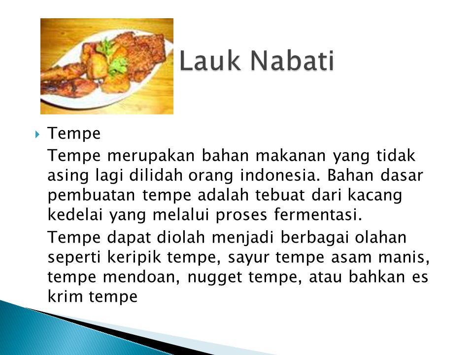 Lauk Nabati Tempe.