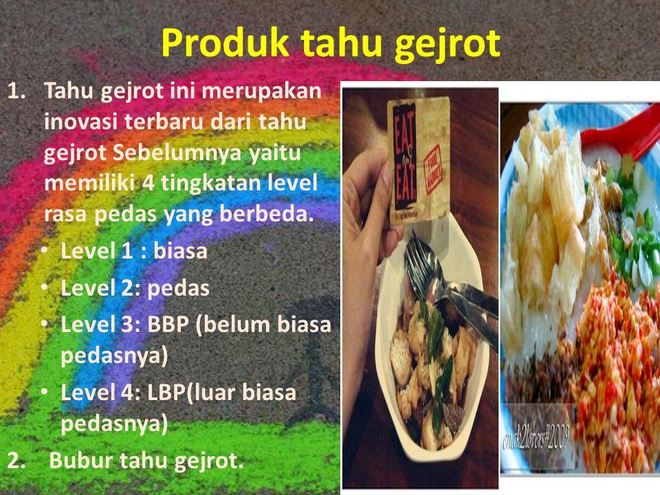 Produk tahu gejrot Tahu gejrot ini merupakan inovasi terbaru dari tahu gejrot Sebelumnya yaitu memiliki 4 tingkatan level rasa pedas yang berbeda.