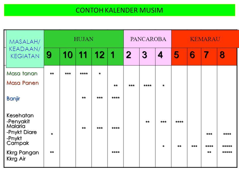 9 10 11 12 1 2 3 4 5 6 7 8 CONTOH KALENDER MUSIM MASALAH/ KEADAAN/