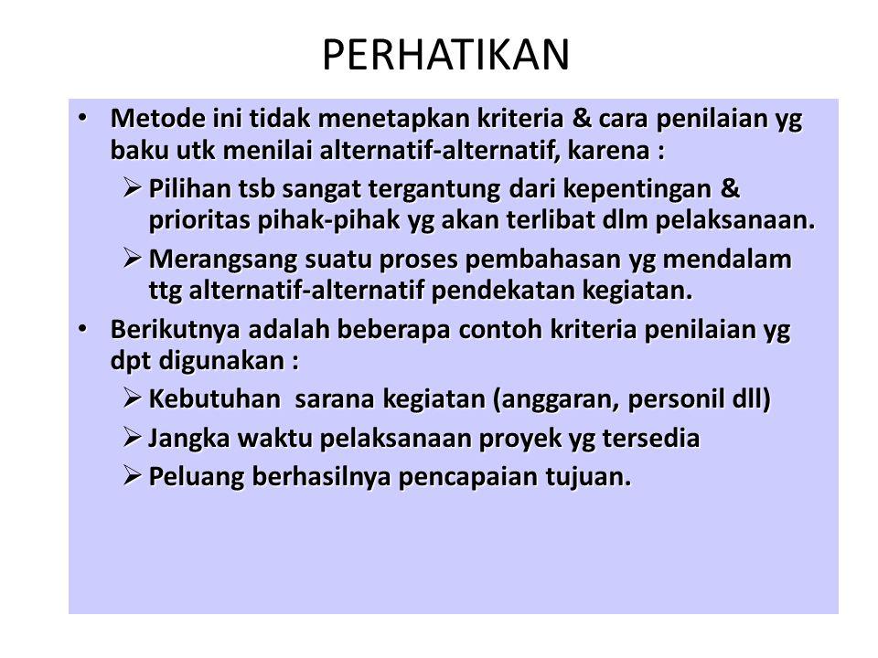 PERHATIKAN Metode ini tidak menetapkan kriteria & cara penilaian yg baku utk menilai alternatif-alternatif, karena :