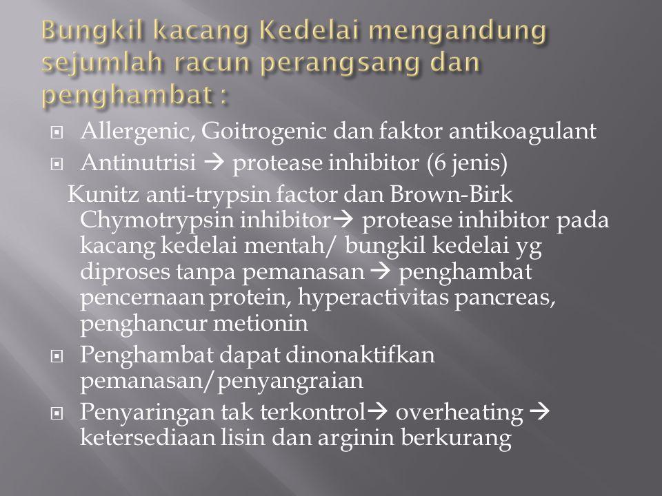 Bungkil kacang Kedelai mengandung sejumlah racun perangsang dan penghambat :