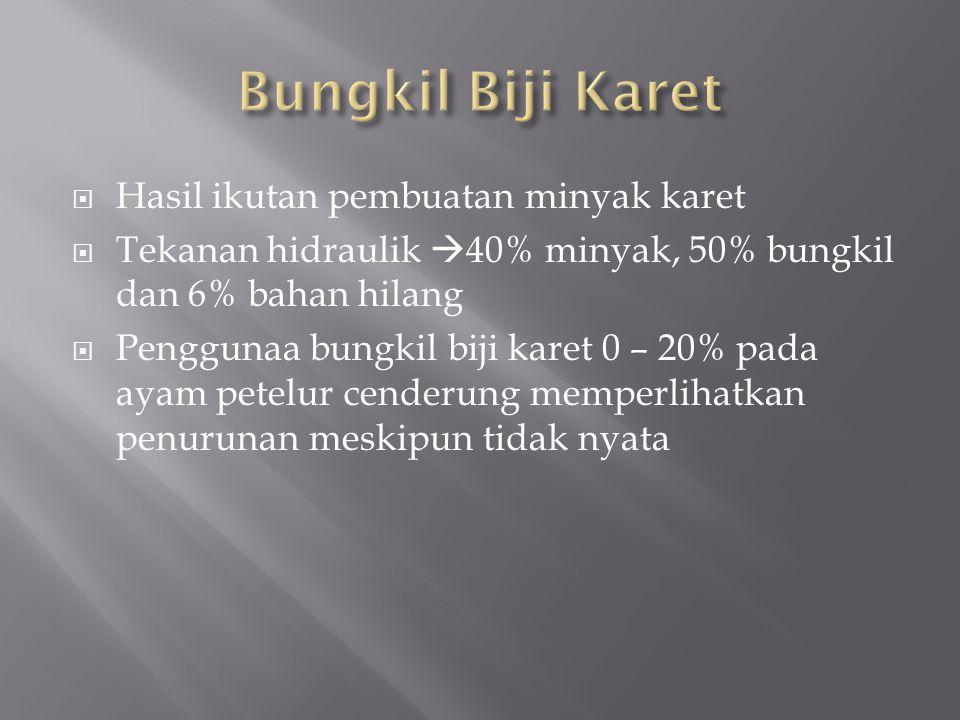 Bungkil Biji Karet Hasil ikutan pembuatan minyak karet