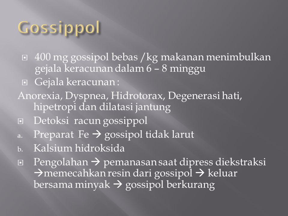 Gossippol 400 mg gossipol bebas /kg makanan menimbulkan gejala keracunan dalam 6 – 8 minggu. Gejala keracunan :