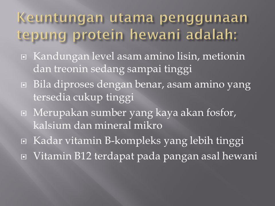 Keuntungan utama penggunaan tepung protein hewani adalah: