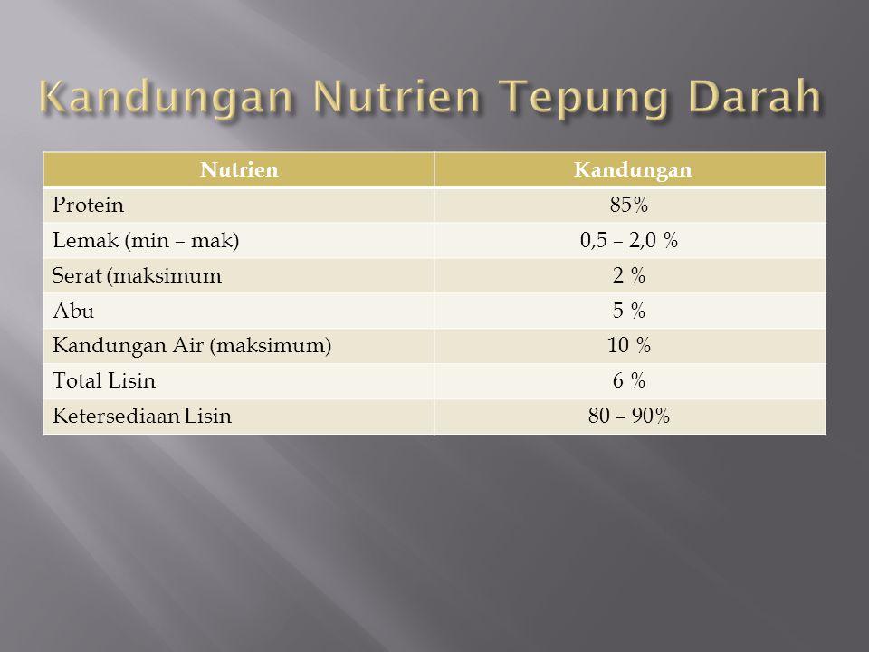 Kandungan Nutrien Tepung Darah