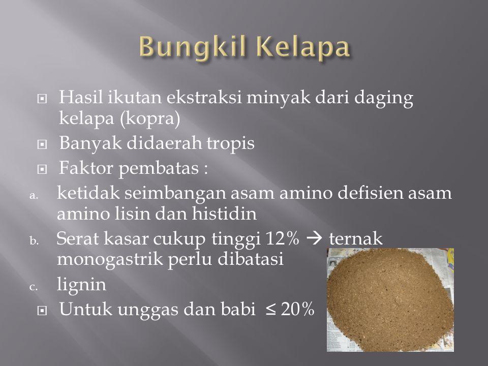 Bungkil Kelapa Hasil ikutan ekstraksi minyak dari daging kelapa (kopra) Banyak didaerah tropis. Faktor pembatas :