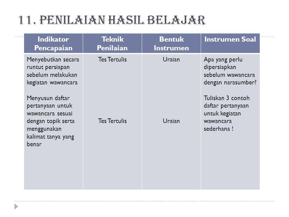 11. Penilaian hasil belajar