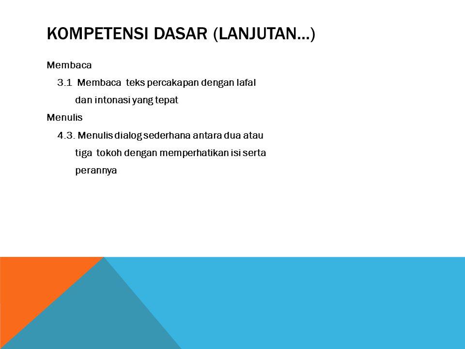 Kompetensi dasar (Lanjutan...)