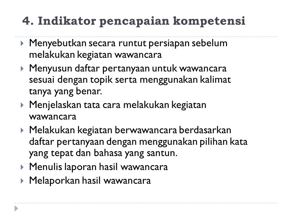 4. Indikator pencapaian kompetensi