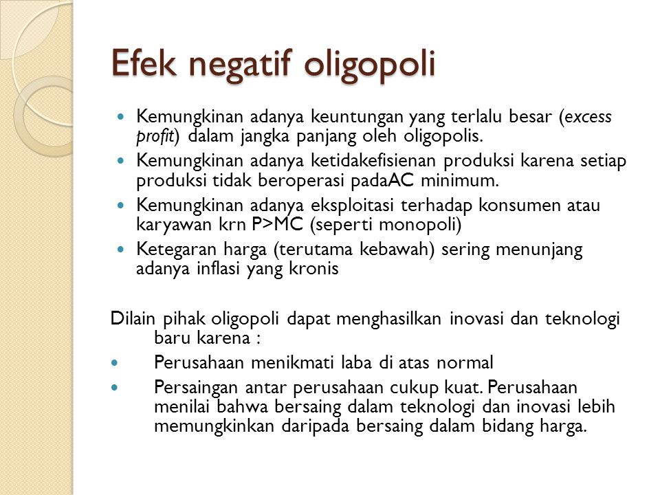 Efek negatif oligopoli