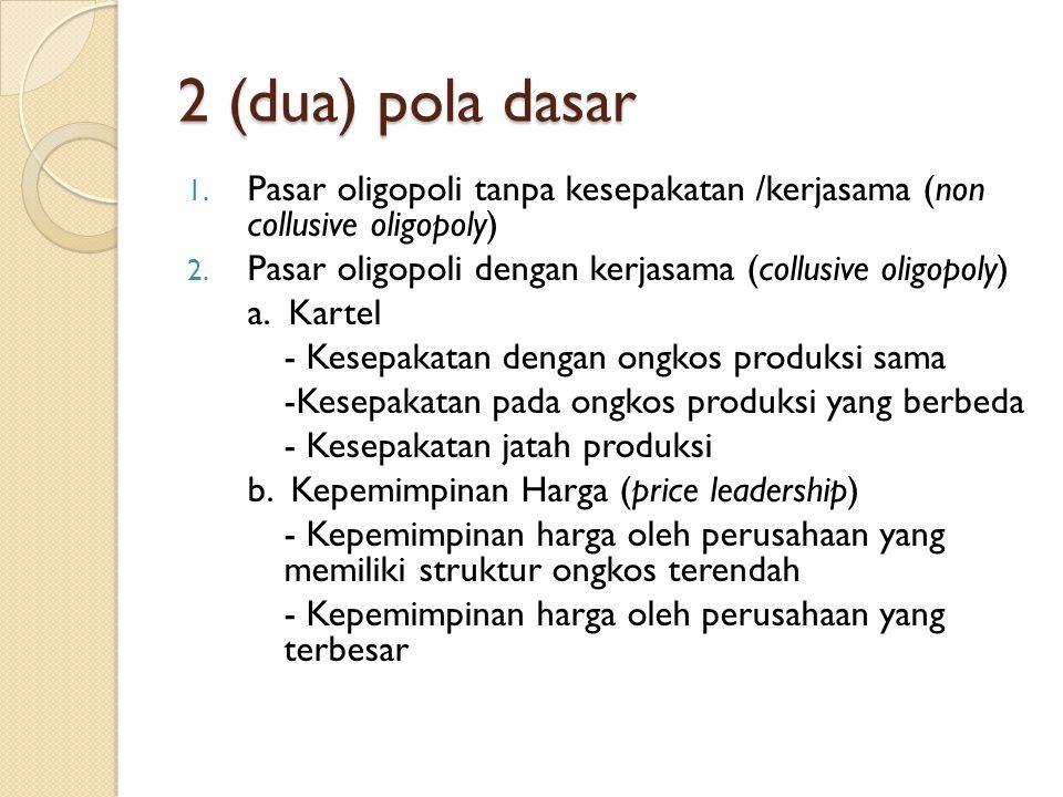 2 (dua) pola dasar Pasar oligopoli tanpa kesepakatan /kerjasama (non collusive oligopoly) Pasar oligopoli dengan kerjasama (collusive oligopoly)