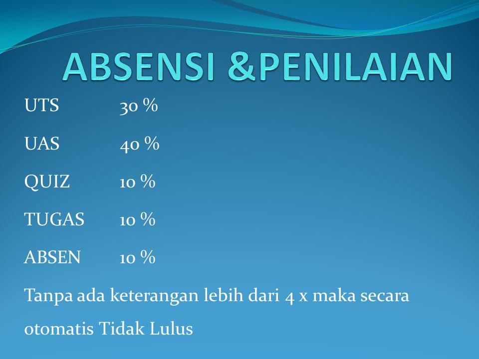 ABSENSI &PENILAIAN UTS 30 % UAS 40 % QUIZ 10 % TUGAS 10 % ABSEN 10 %