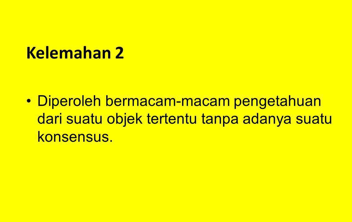Kelemahan 2 Diperoleh bermacam-macam pengetahuan dari suatu objek tertentu tanpa adanya suatu konsensus.