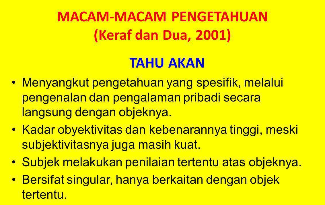 MACAM-MACAM PENGETAHUAN (Keraf dan Dua, 2001)