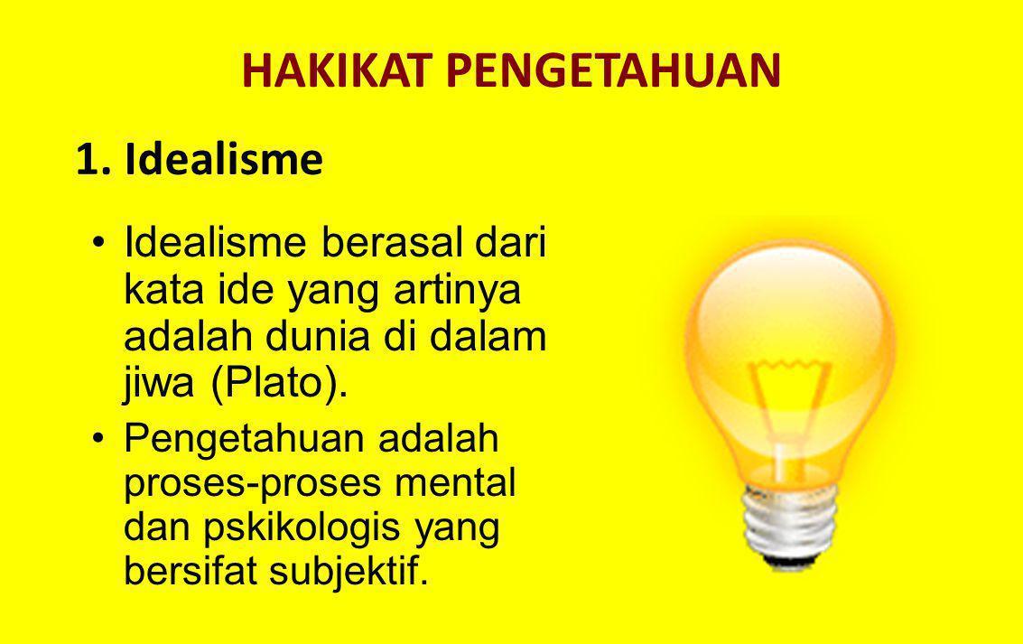 HAKIKAT PENGETAHUAN 1. Idealisme