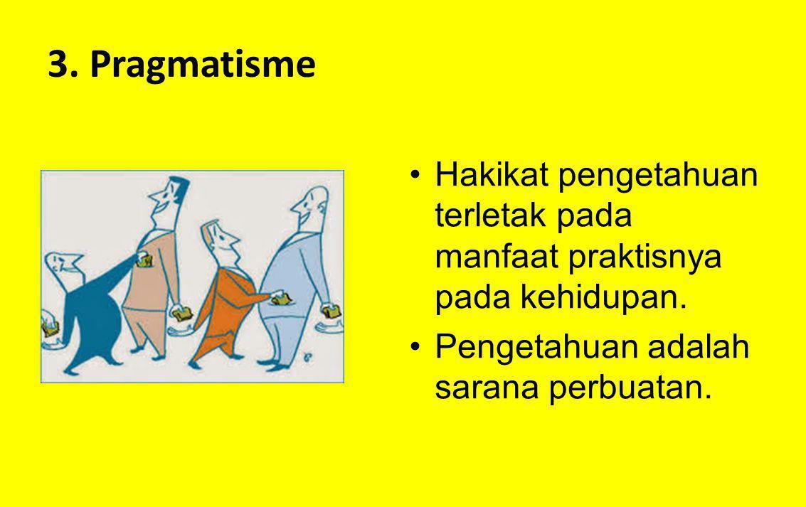 3. Pragmatisme Hakikat pengetahuan terletak pada manfaat praktisnya pada kehidupan.