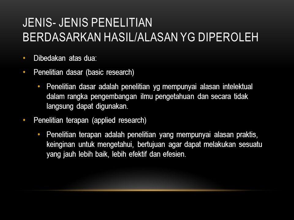 Jenis- jenis penelitian berdasarkan hasil/alasan yg diperoleh