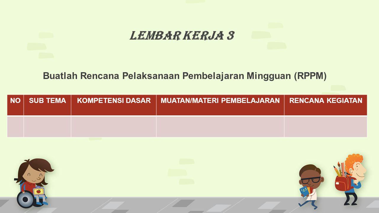 LEMBAR KERJA 3 Buatlah Rencana Pelaksanaan Pembelajaran Mingguan (RPPM) NO. SUB TEMA. KOMPETENSI DASAR.