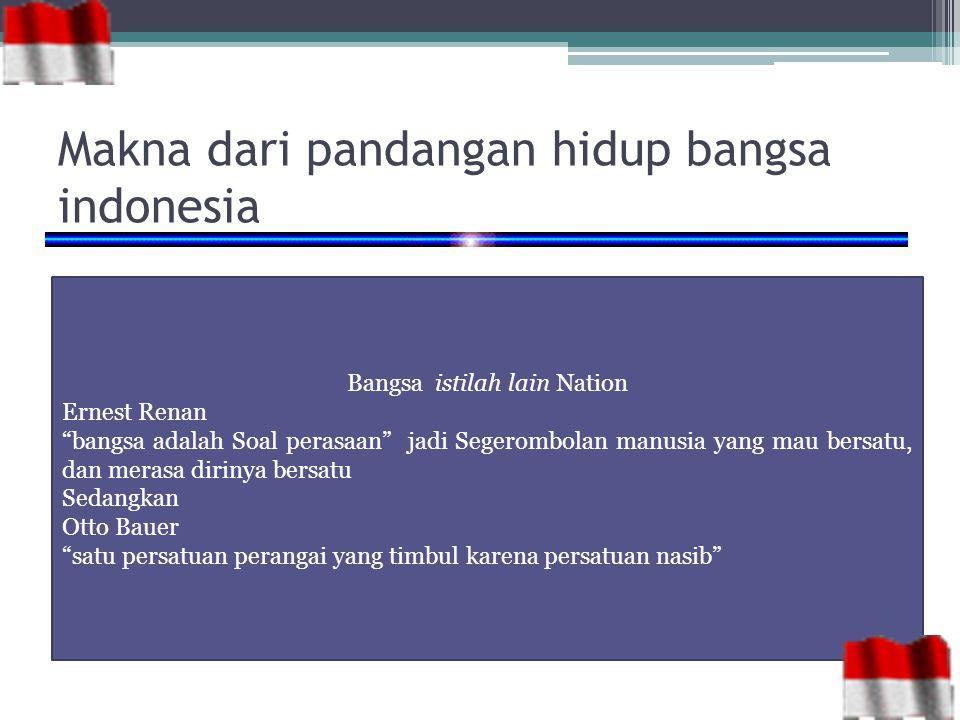 Makna dari pandangan hidup bangsa indonesia
