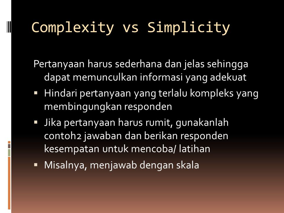 Complexity vs Simplicity
