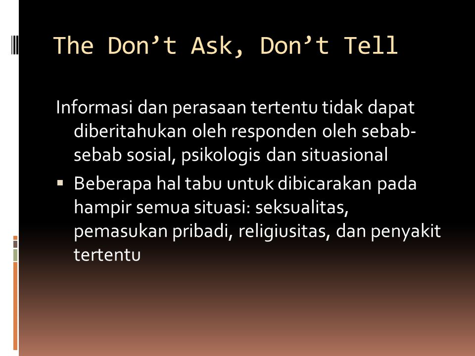 The Don't Ask, Don't Tell