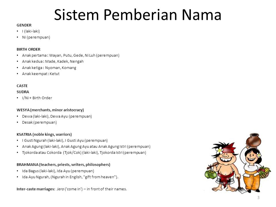 Sistem Pemberian Nama Source: http://goo.gl/79iTZ GENDER I (laki-laki)