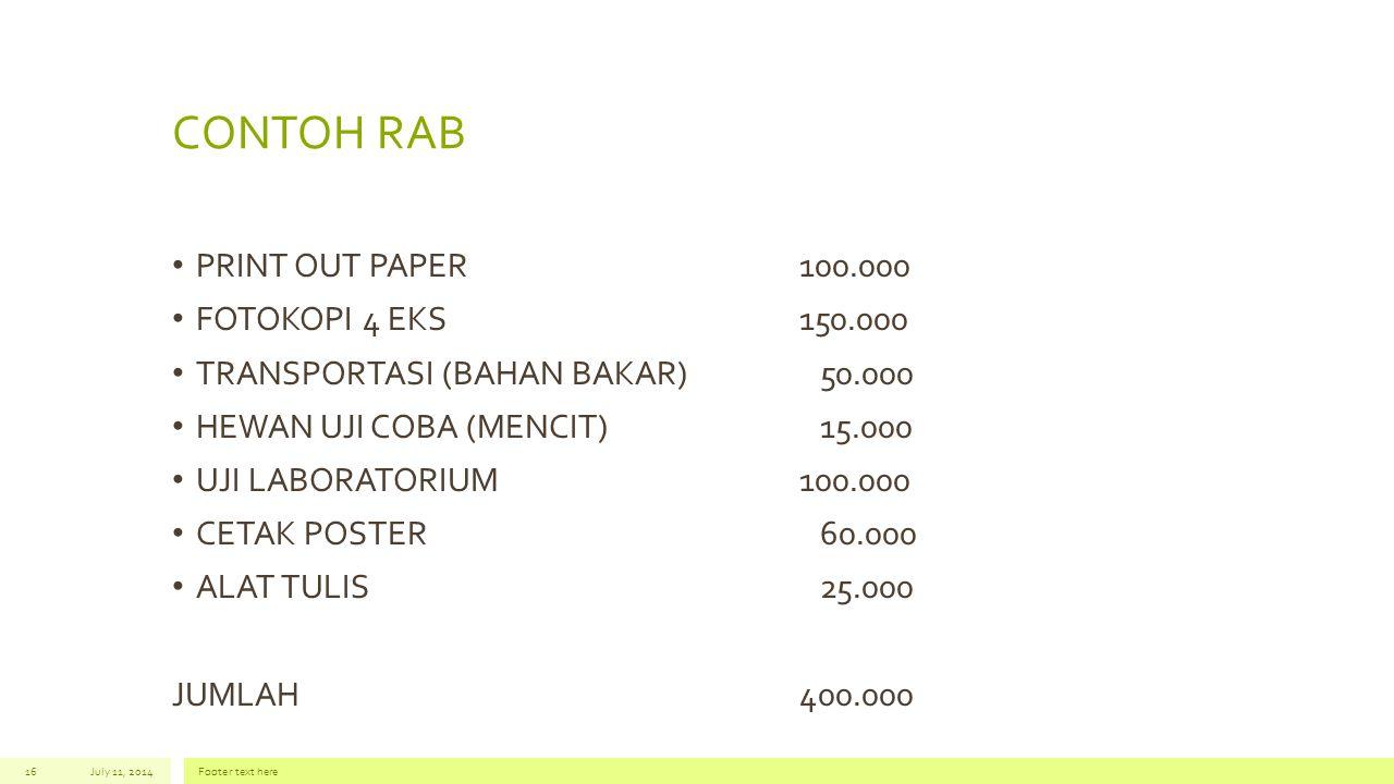 CONTOH RAB PRINT OUT PAPER 100.000 FOTOKOPI 4 EKS 150.000
