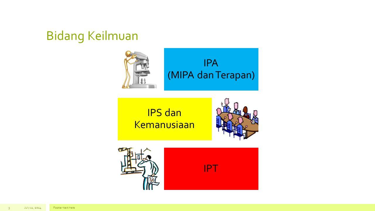 Bidang Keilmuan IPA (MIPA dan Terapan) IPS dan Kemanusiaan IPT