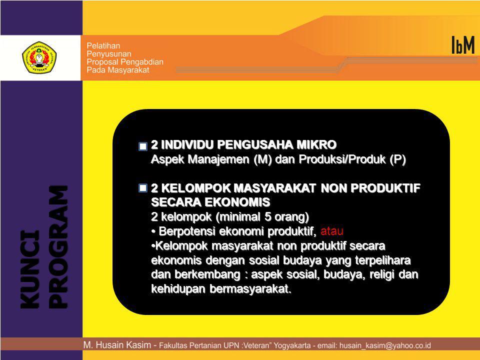 KUNCI PROGRAM 2 INDIVIDU PENGUSAHA MIKRO