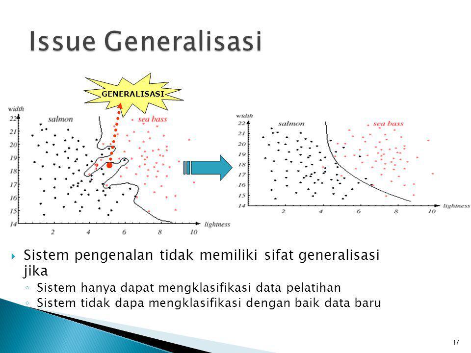 Issue Generalisasi GENERALISASI. Sistem pengenalan tidak memiliki sifat generalisasi jika. Sistem hanya dapat mengklasifikasi data pelatihan.