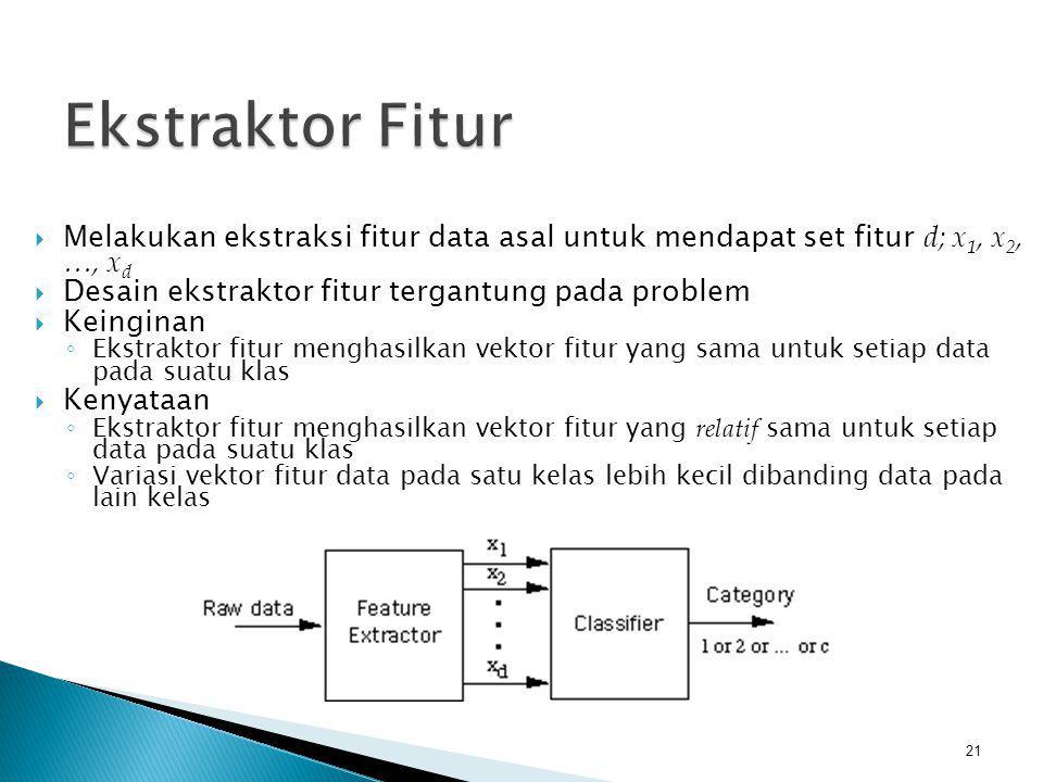 Ekstraktor Fitur Melakukan ekstraksi fitur data asal untuk mendapat set fitur d; x1, x2, …, xd. Desain ekstraktor fitur tergantung pada problem.
