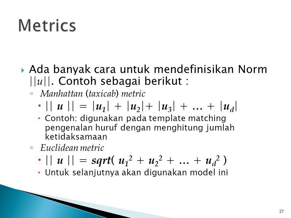 Metrics || u || = |u1| + |u2|+ |u3| + ... + |ud|