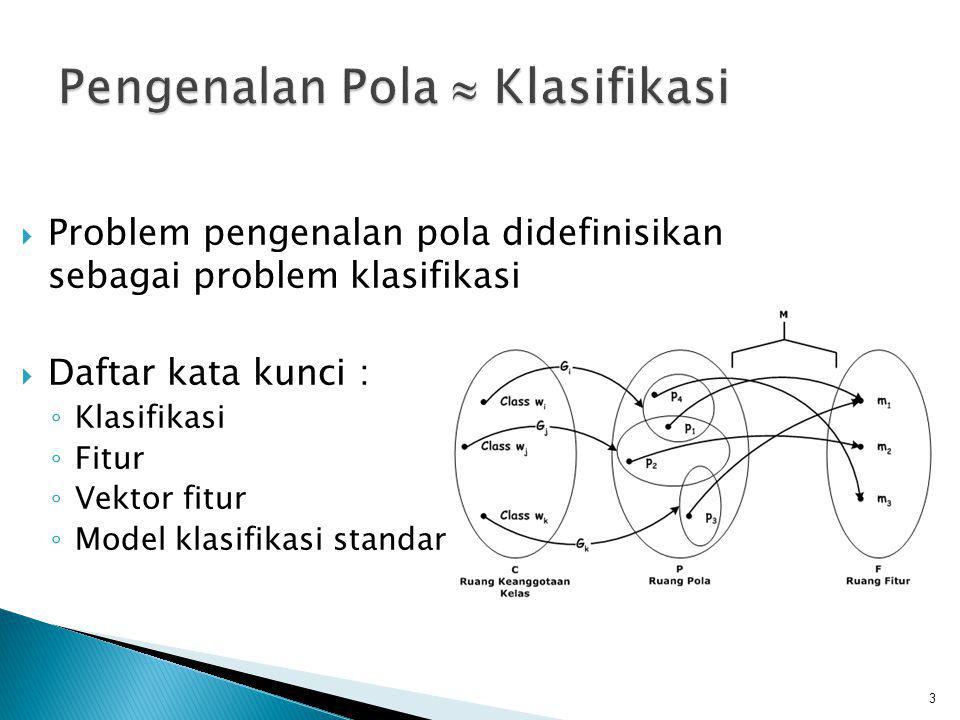 Pengenalan Pola  Klasifikasi