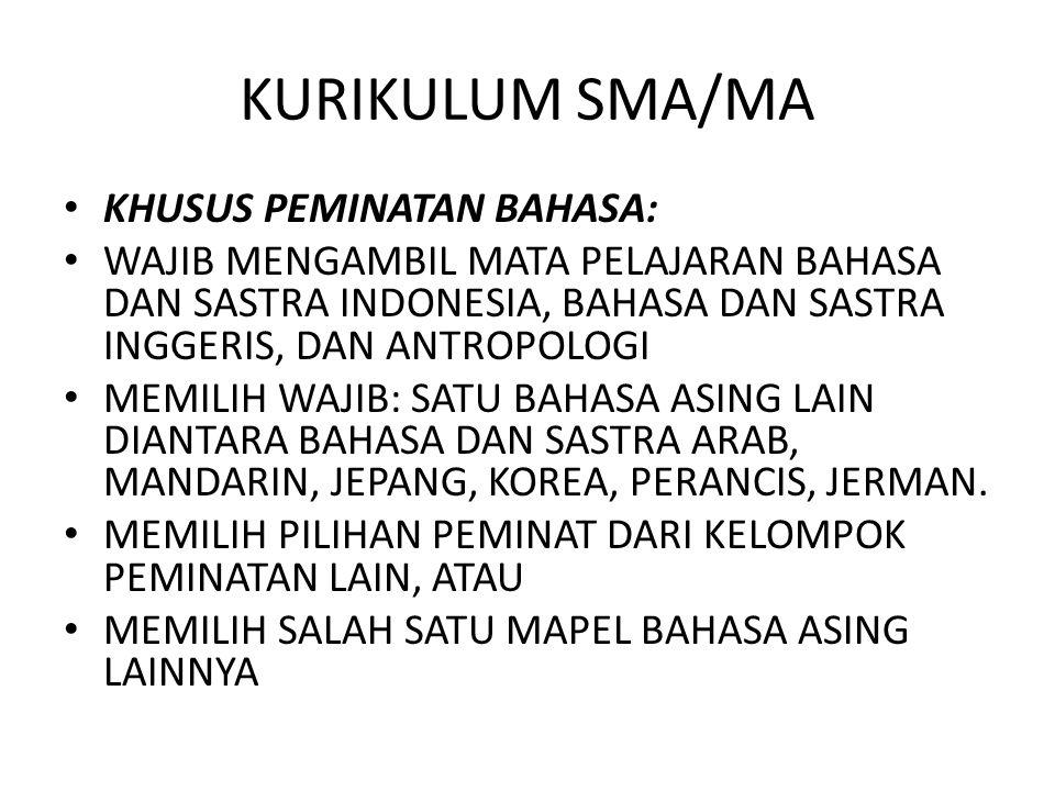 KURIKULUM SMA/MA KHUSUS PEMINATAN BAHASA: