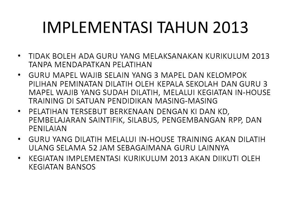 IMPLEMENTASI TAHUN 2013 TIDAK BOLEH ADA GURU YANG MELAKSANAKAN KURIKULUM 2013 TANPA MENDAPATKAN PELATIHAN.