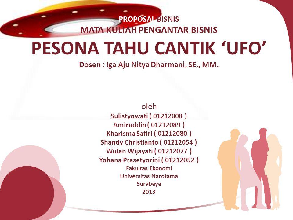 PROPOSAL BISNIS MATA KULIAH PENGANTAR BISNIS PESONA TAHU CANTIK 'UFO' Dosen : Iga Aju Nitya Dharmani, SE., MM.