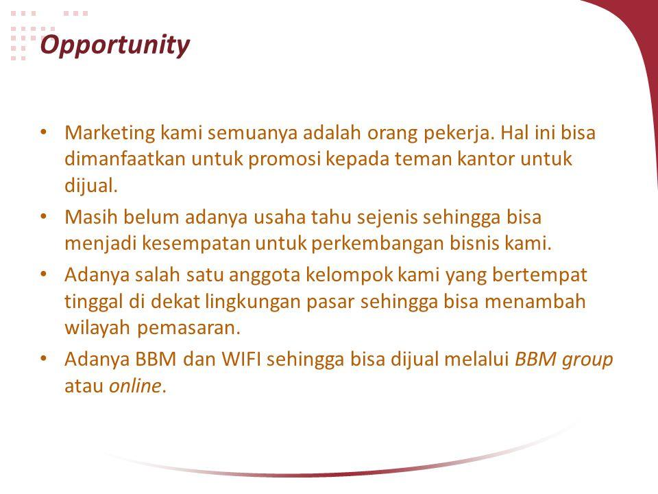 Opportunity Marketing kami semuanya adalah orang pekerja. Hal ini bisa dimanfaatkan untuk promosi kepada teman kantor untuk dijual.
