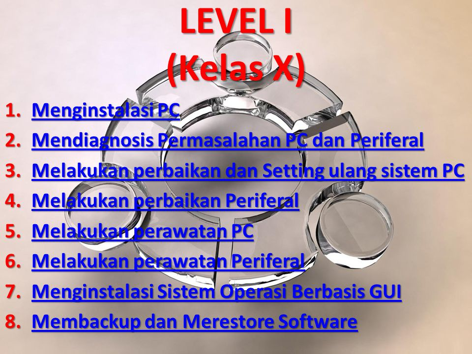 LEVEL I (Kelas X) Menginstalasi PC