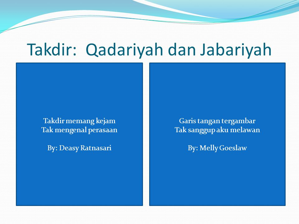 Takdir: Qadariyah dan Jabariyah