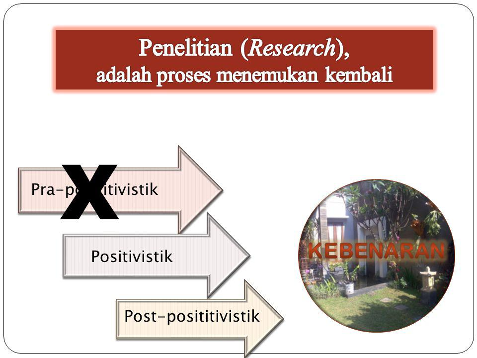 Penelitian (Research), adalah proses menemukan kembali