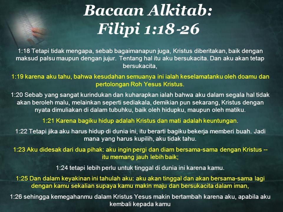 Bacaan Alkitab: Filipi 1:18‐26