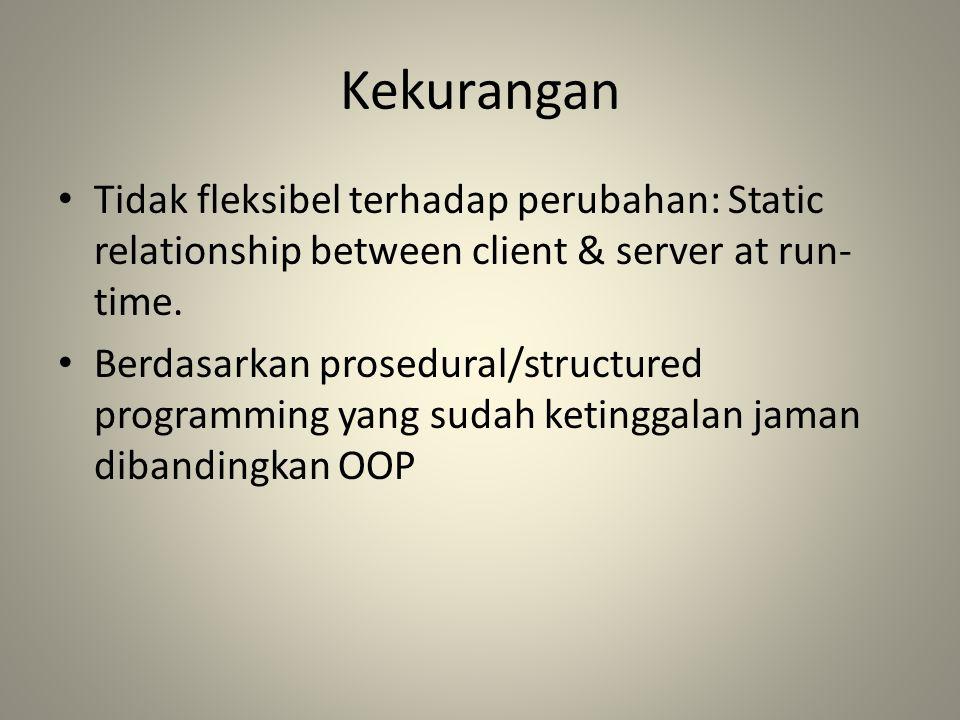 Kekurangan Tidak fleksibel terhadap perubahan: Static relationship between client & server at run-time.