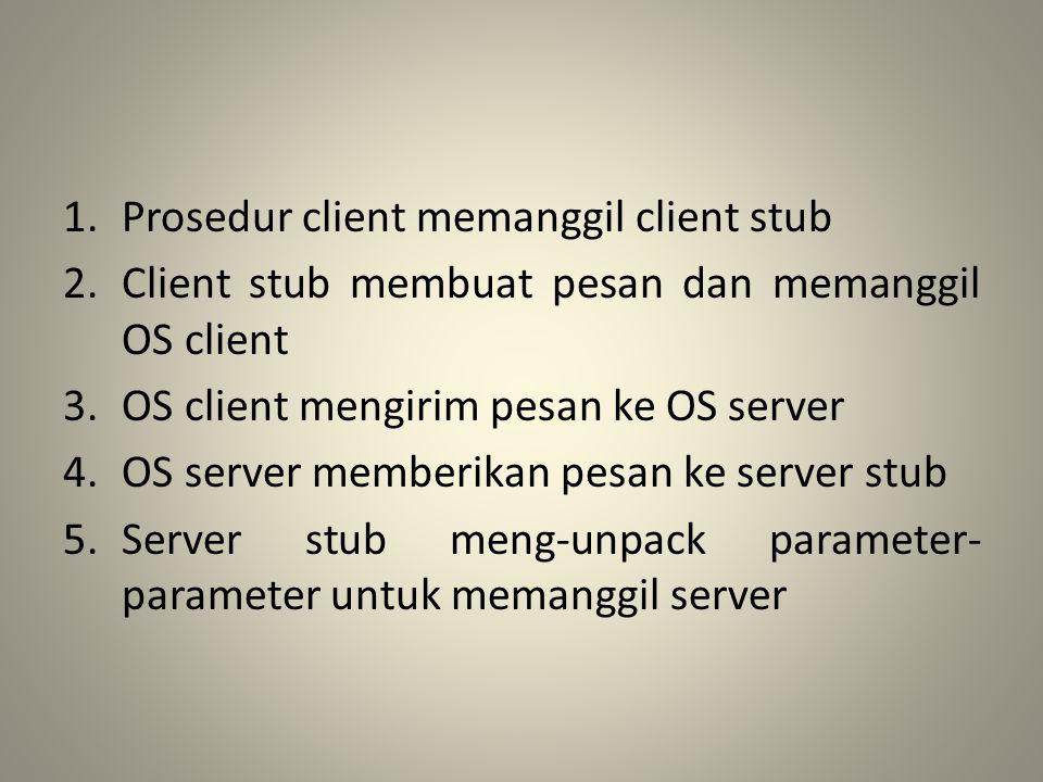 Prosedur client memanggil client stub