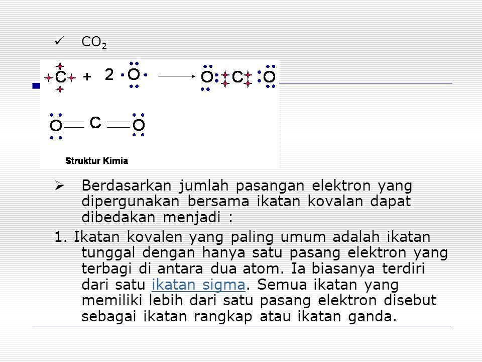 CO2 Berdasarkan jumlah pasangan elektron yang dipergunakan bersama ikatan kovalan dapat dibedakan menjadi :