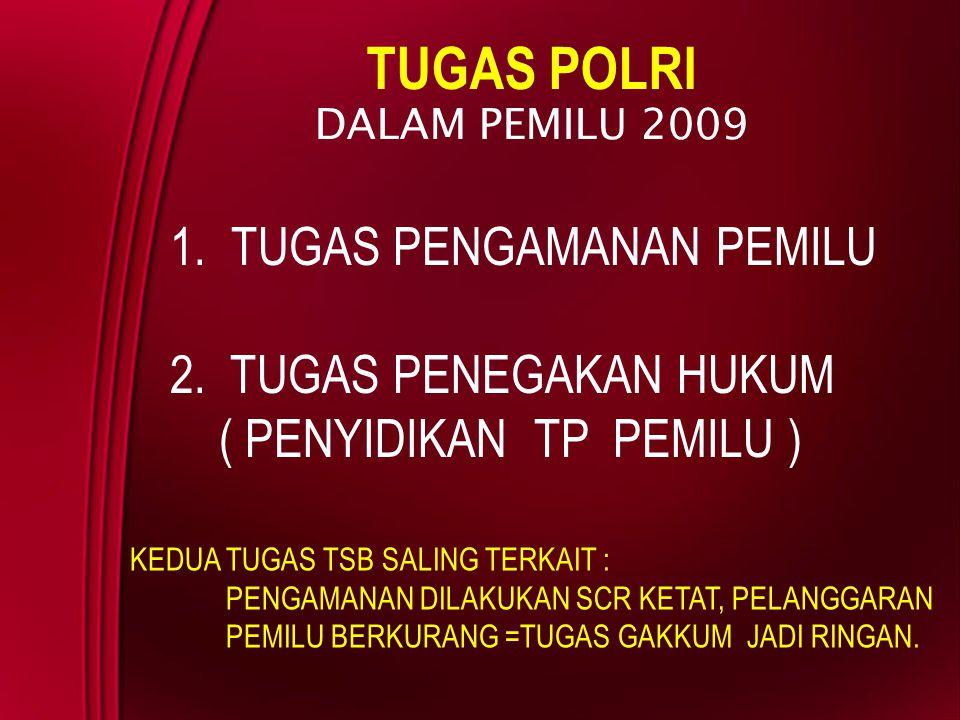 TUGAS POLRI TUGAS PENGAMANAN PEMILU 2. TUGAS PENEGAKAN HUKUM