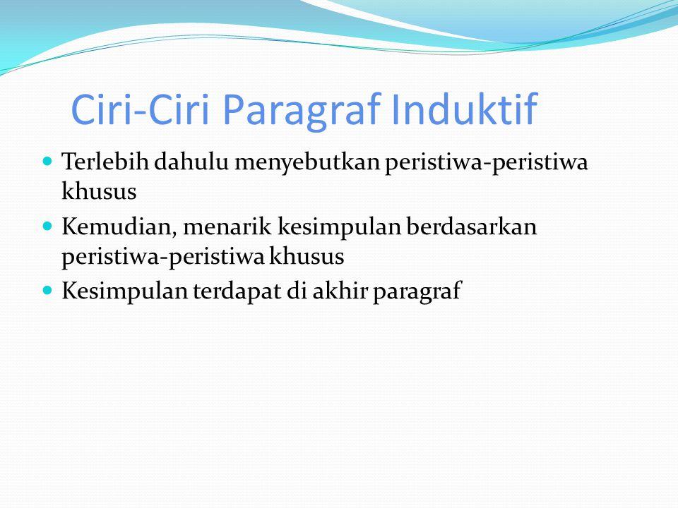 Ciri-Ciri Paragraf Induktif
