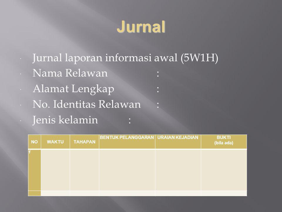 Jurnal Jurnal laporan informasi awal (5W1H) Nama Relawan :