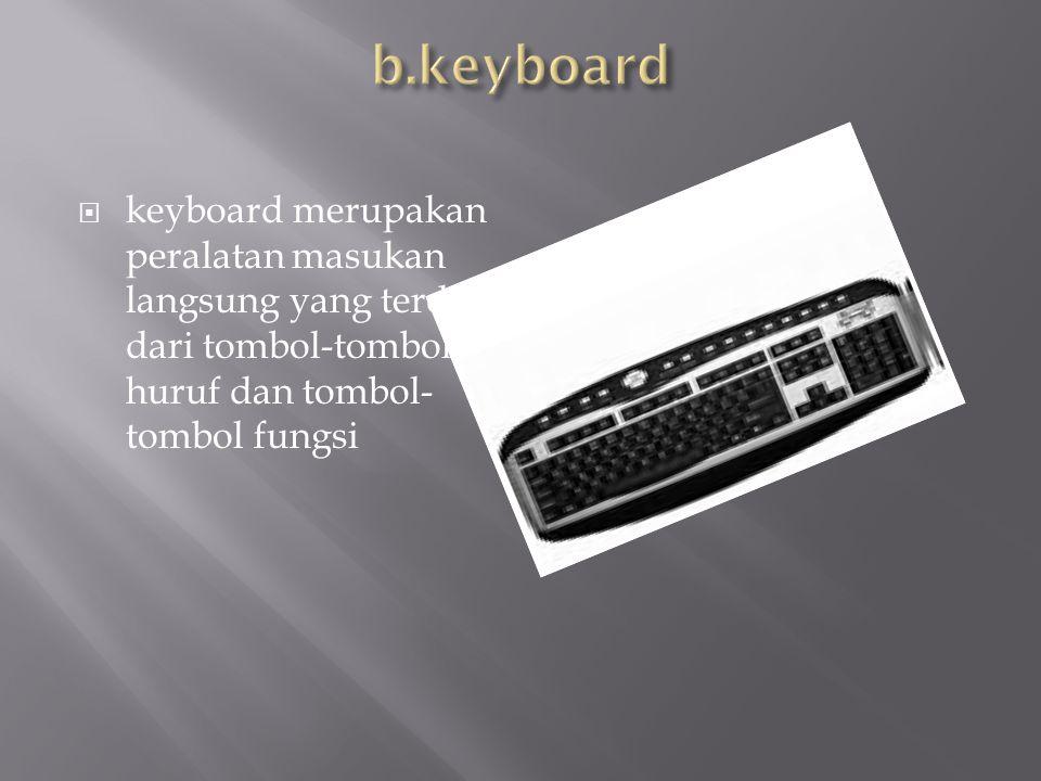 b.keyboard keyboard merupakan peralatan masukan langsung yang terditri dari tombol-tombol huruf dan tombol-tombol fungsi.