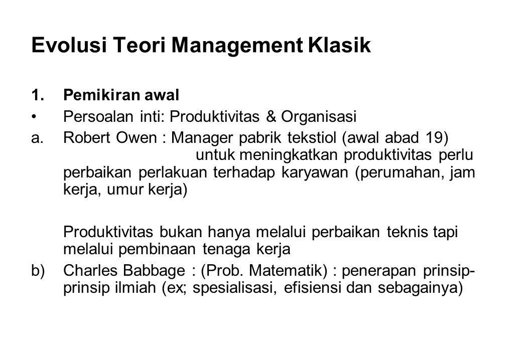 Evolusi Teori Management Klasik